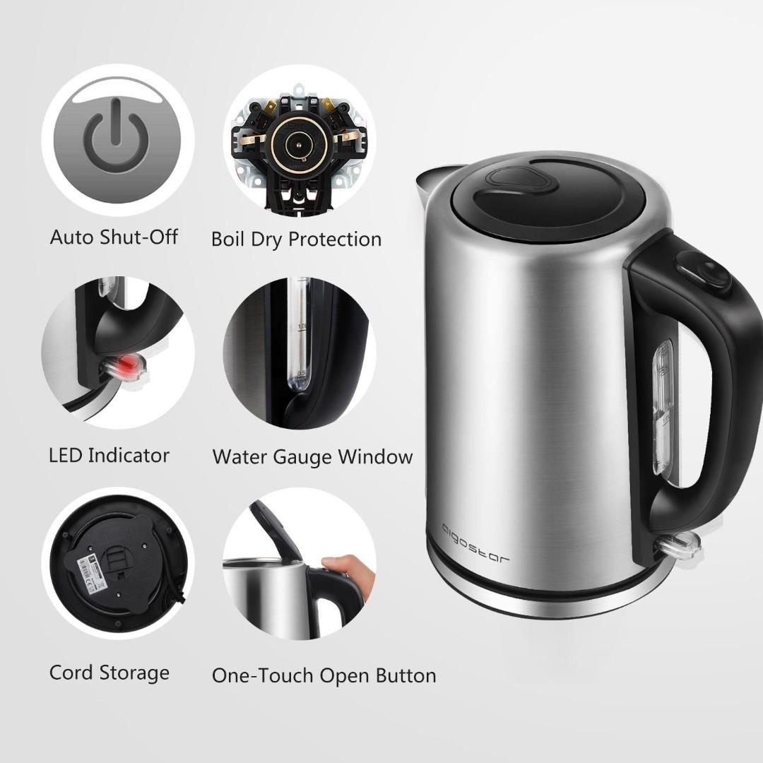 Aigostar Rob 30JPL - Fast Boil Electric Kettle, 304 Stainless Steel, 2200 Watts, 1.7L, Boil-Dry Protection and Auto Shut-Off, BPA Free. Cordless.