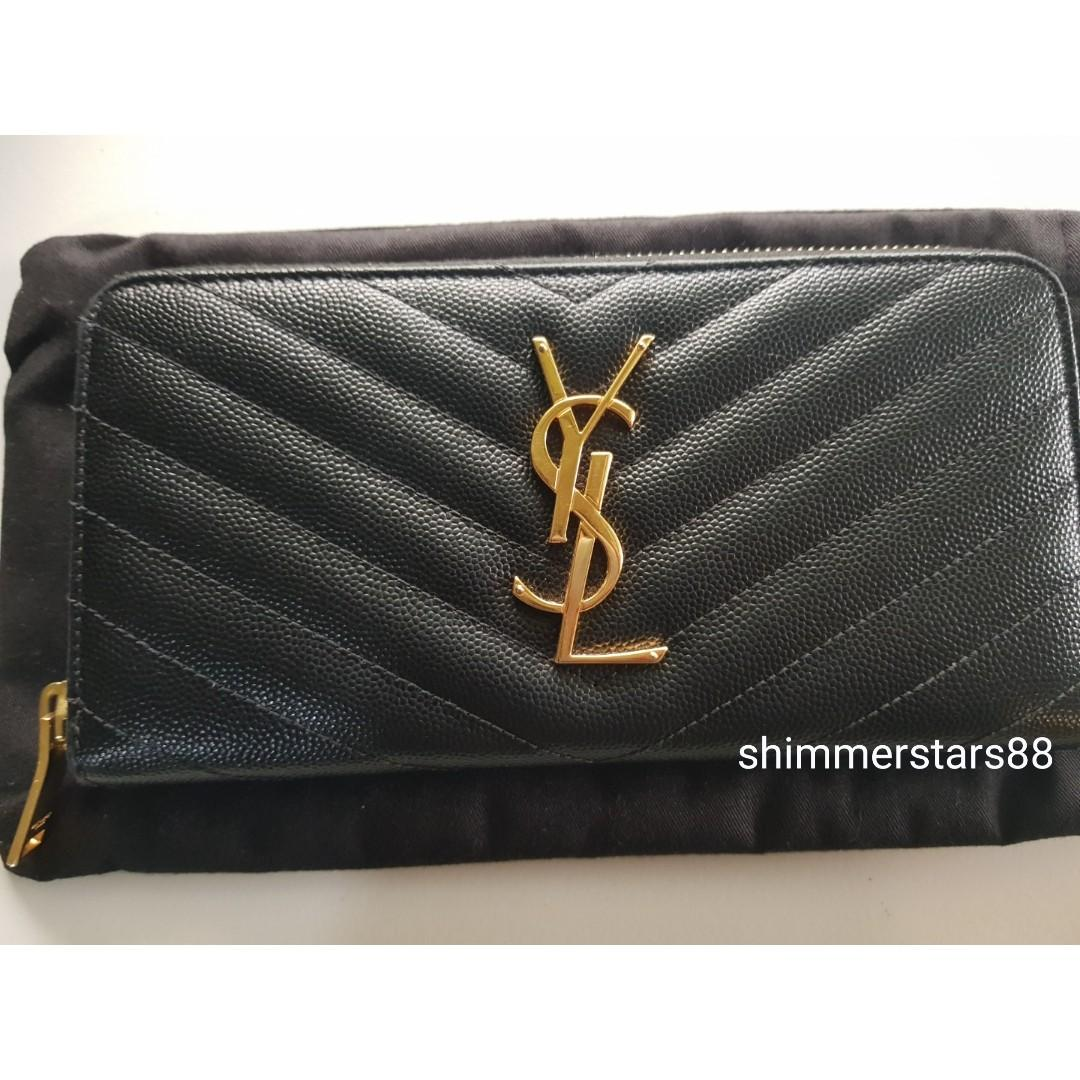 Authentic YSL Saint Laurent Monogram Zip Wallet in Grain de Poudre Embossed Leather, RRP$1035.00