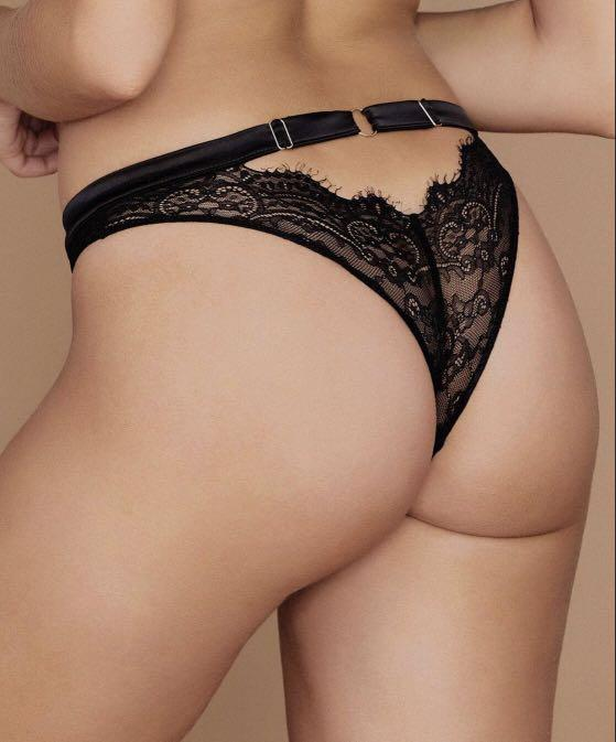 Black Lace underwear/ brazilian brief with Gold Meshki Logo