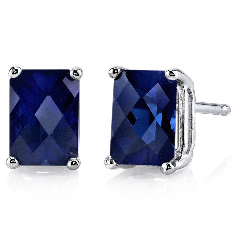 Blue Sapphire Stud Earrings 14K White Gold 1.8 Ct Lab Created Radiant 7x5 mm