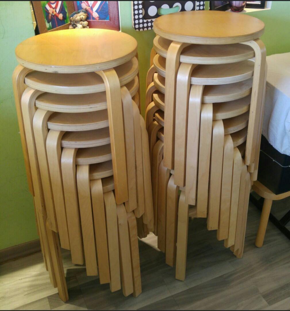 Enjoyable Brown Wood Wooden Ikea Frosta Round Stackable Stools Uwap Interior Chair Design Uwaporg