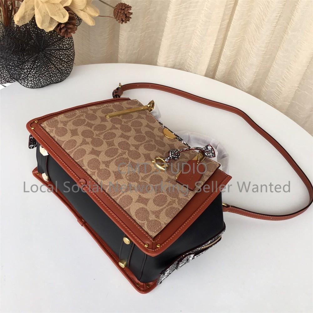 Coach Dreamer 28 F38846 In Signature Canvas With Snakeskin Detail shoulder bag