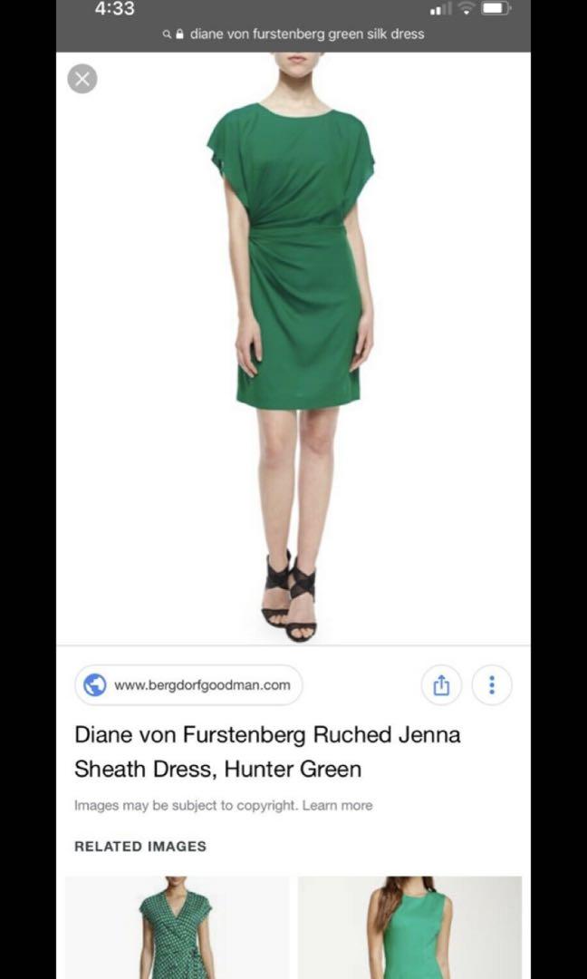 Diane Von Furstenberg (DVF) Jenna Sheath Dress in Hunter Green