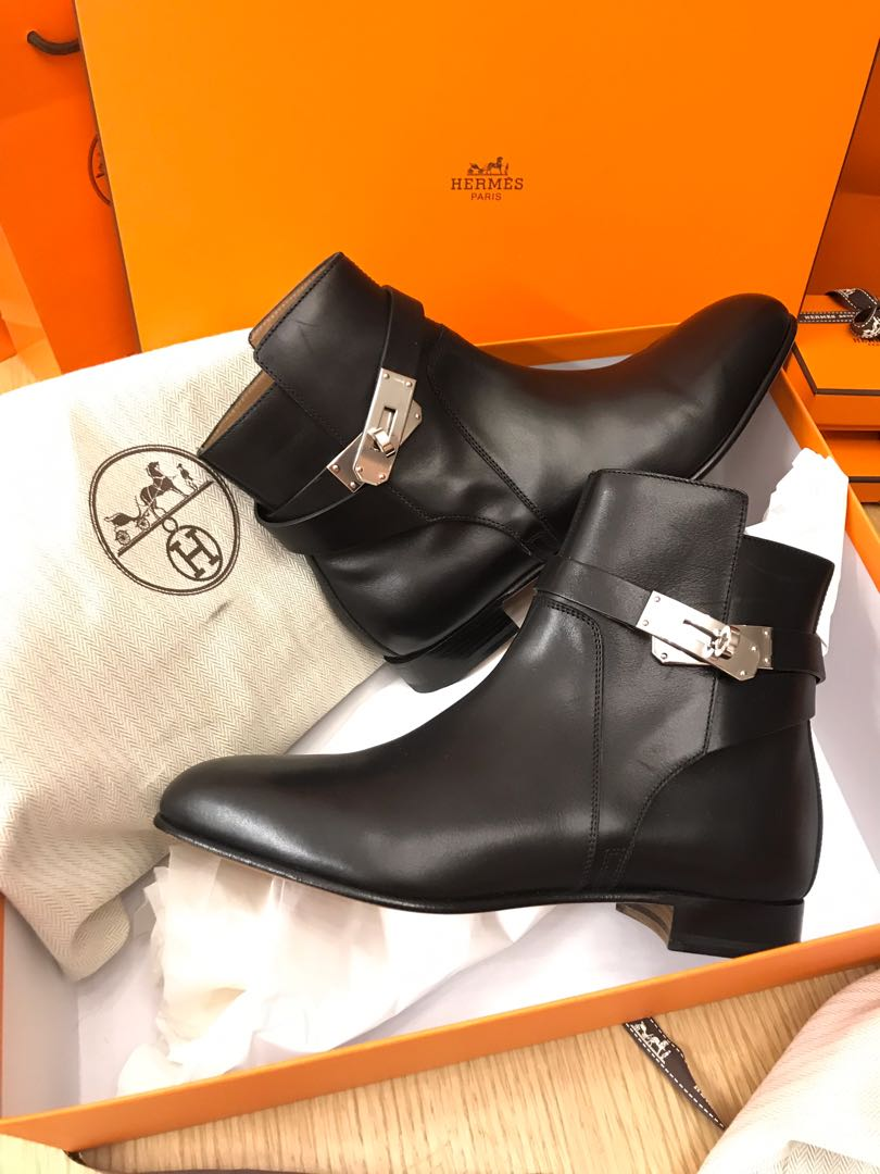 super popular 17644 7505d Hermes shoes 愛馬仕 鞋 Neo ankle boots Hermes Kelly Boots Noir Black 95% New  Hermes 黑色短 Boots