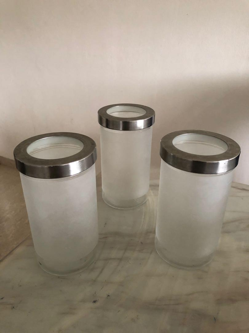 IKEA Frosted translucent glass food or accessory storage container