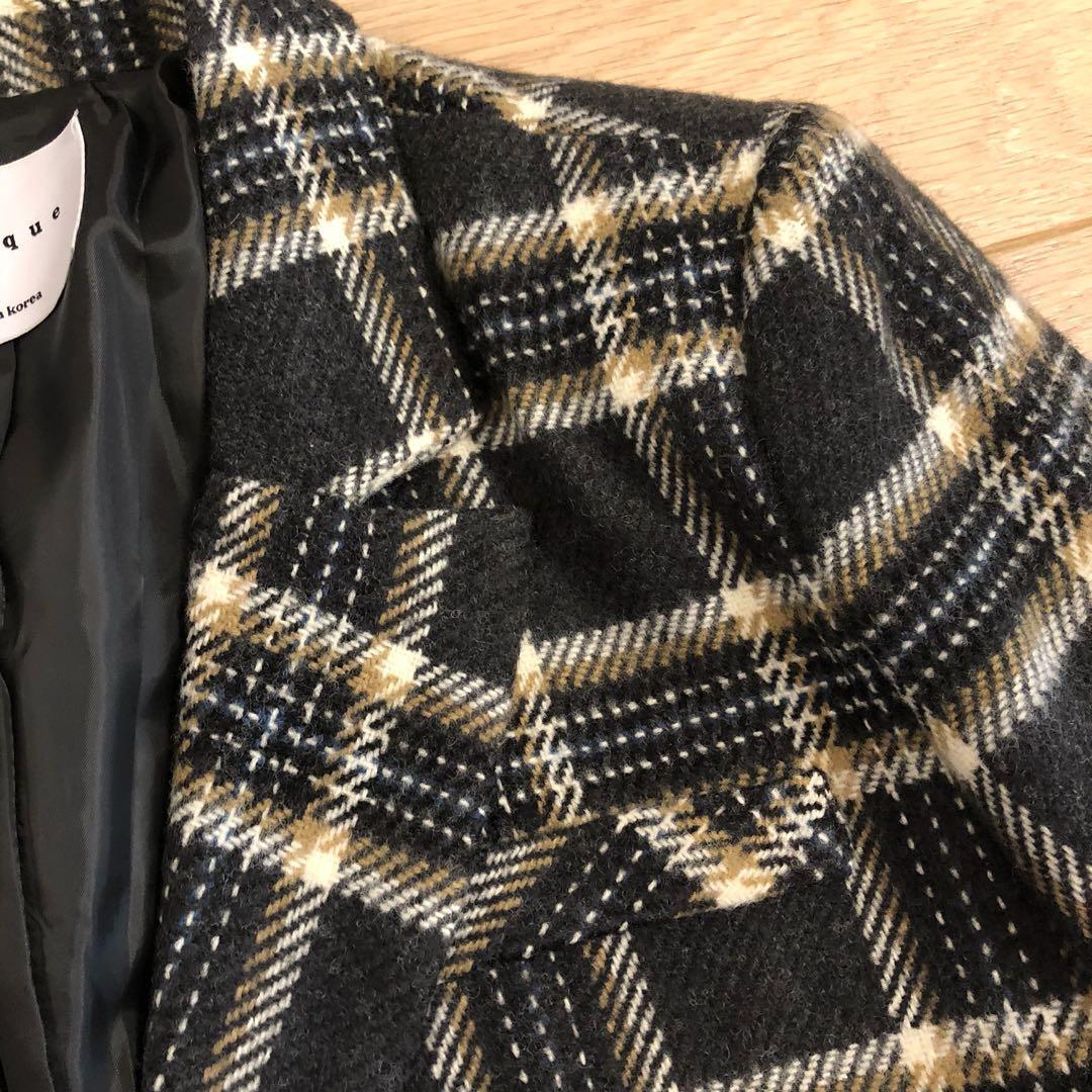 轉賣正韓lagirl格紋西裝外套厚針織厚實毛呢