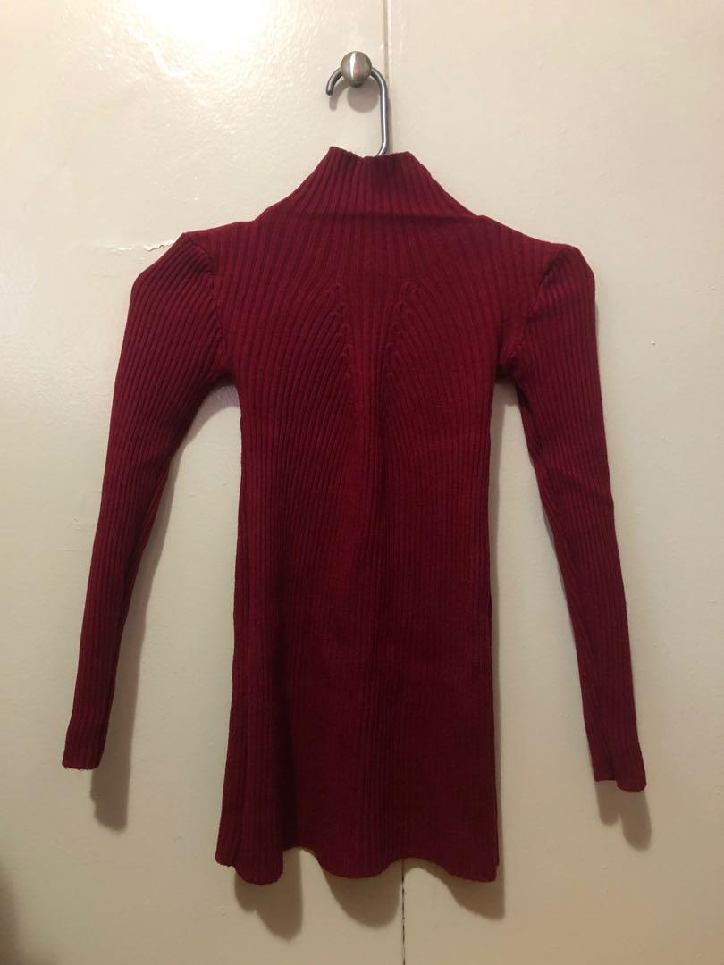 Maroon Turtleneck Sweater