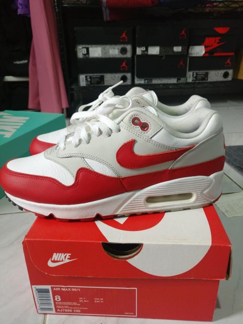100% Original Outdoor Nike Air Max 901 Red and White Air