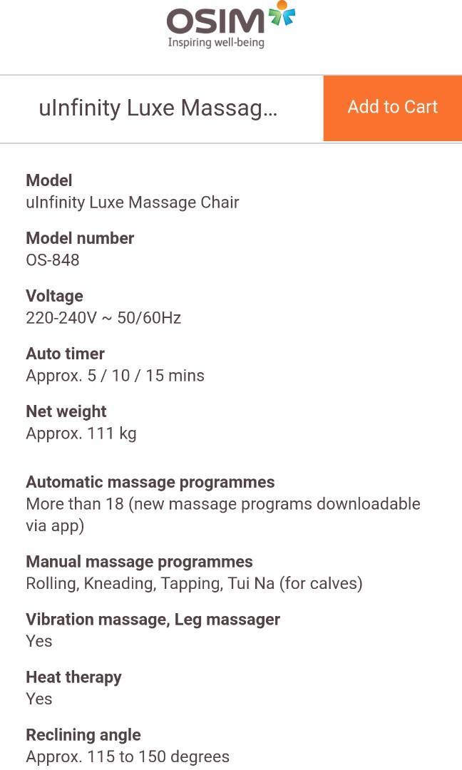 Osim uInfinity Luxe Massage Chair