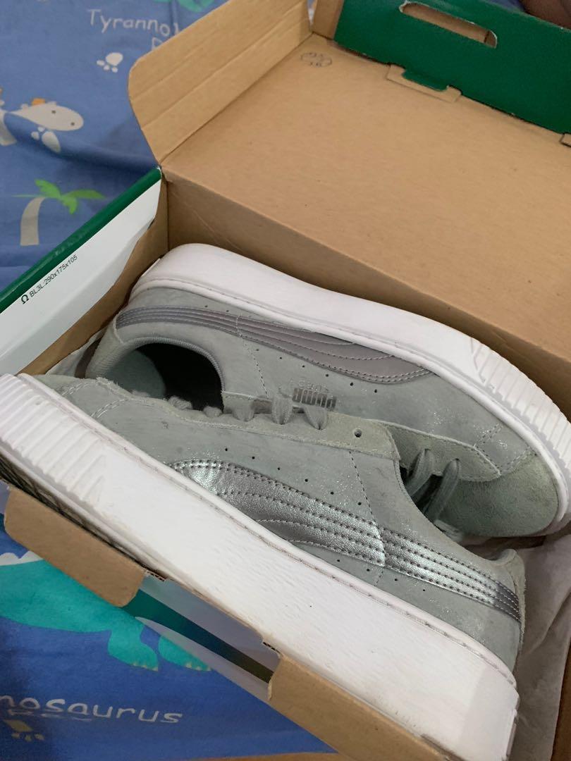 Puma厚底 灰色麂皮鞋