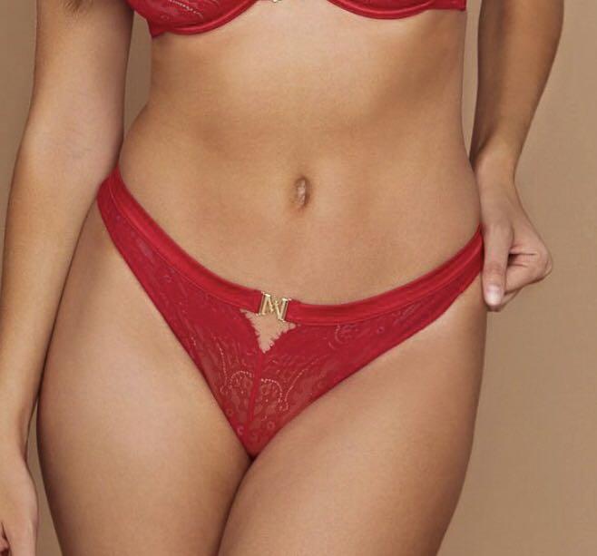 Red Lace underwear/ brazilian brief with Gold Meshki Logo