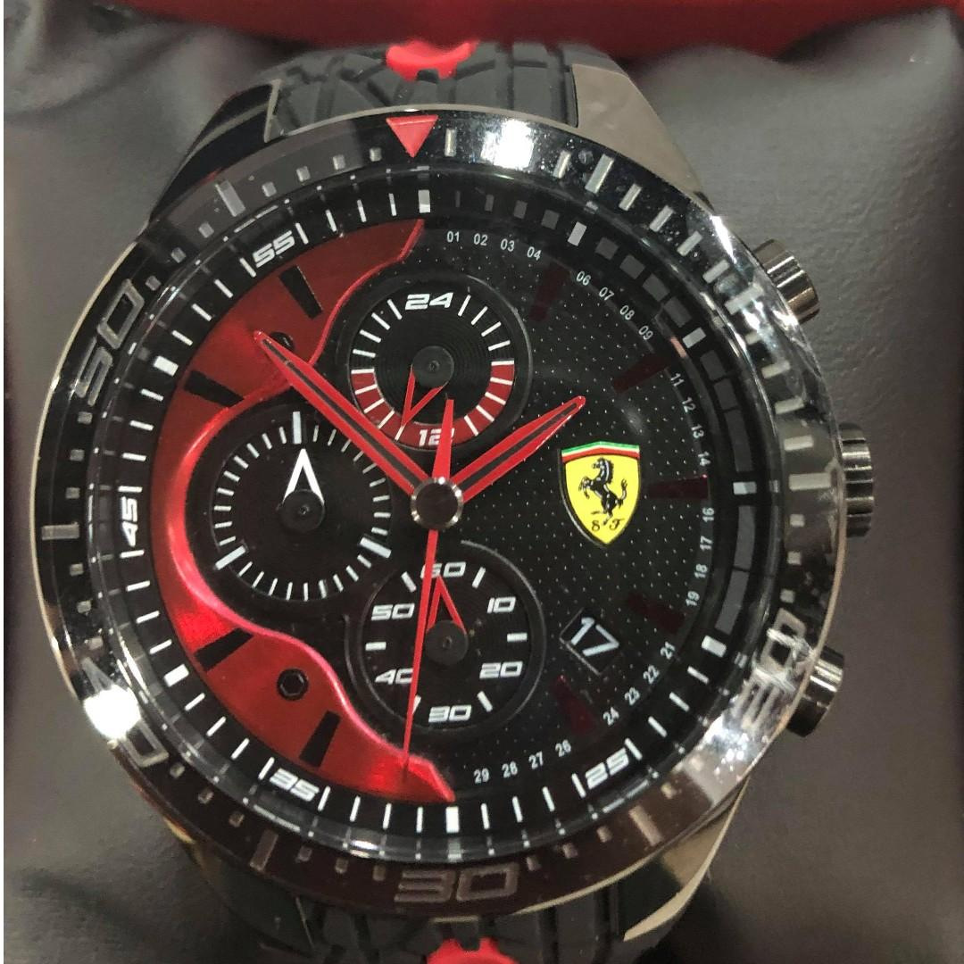 Scuderia Ferrari Store Exclusive Black Red Rev Evo Chronograph Watch With Red Details Men S Fashion Watches On Carousell