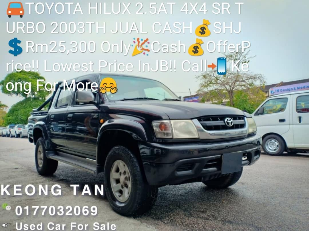 TOYOTA HILUX 2.5AT 4X4 SR TURBO 2003TH JUAL CASH💰SHJ💲Rm25,300 Only🎉Cash💰OfferPrice‼ Lowest Price InJB‼