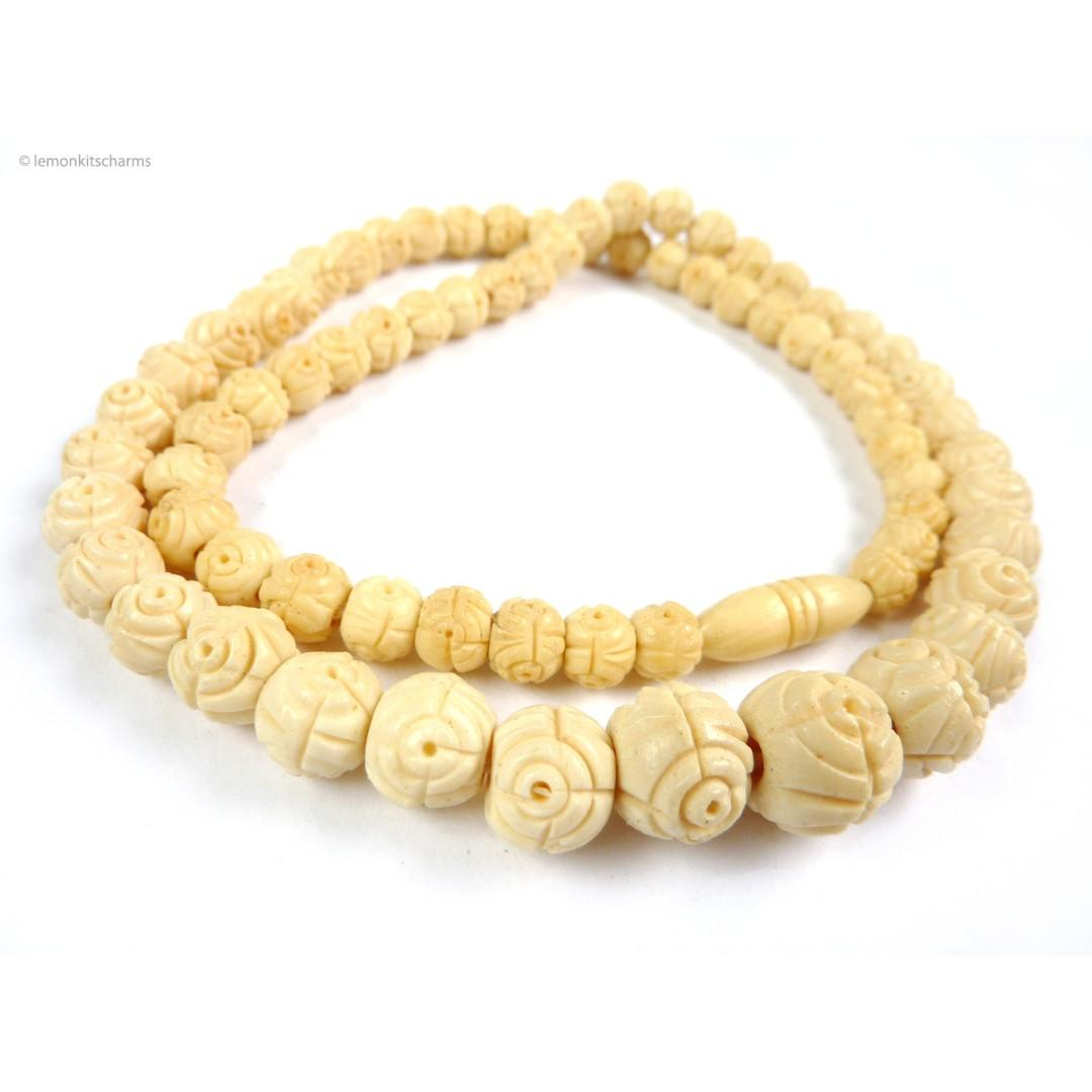 Vintage 1970s Carved Bone Beaded Necklace Nk742 Cs Women S Fashion Jewellery Necklaces On Carousell