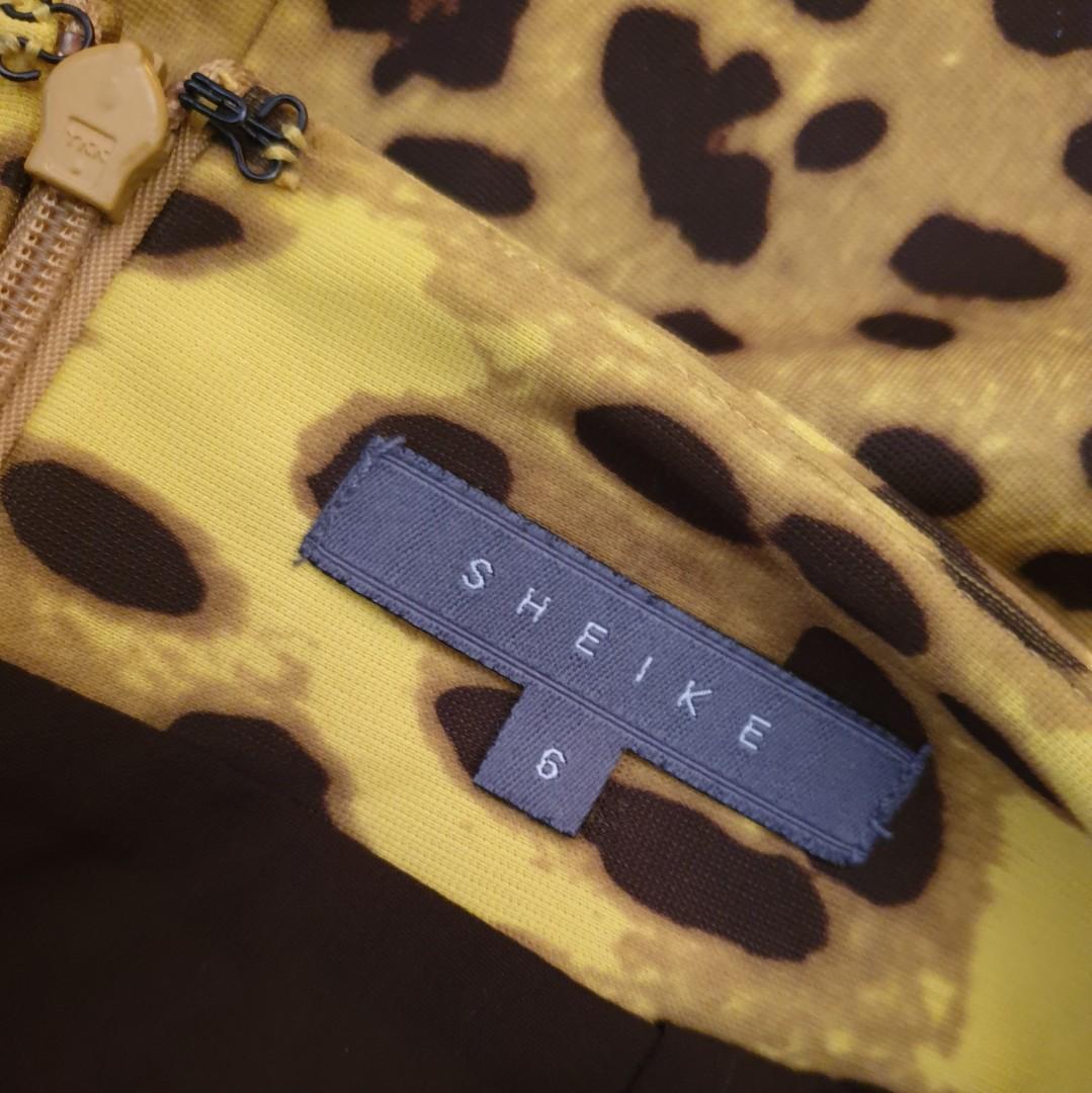 Women's size 6 'SHEIKE' Stunning yellow leopard print tailored pencil midi skirt - AS NEW
