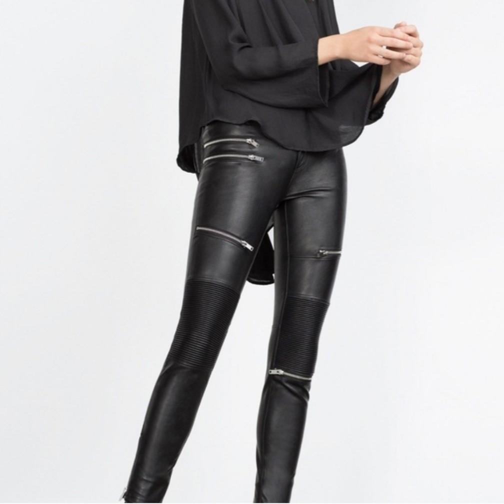 Zara   Faux Leather Biker Moto Trousers Zip Pants.