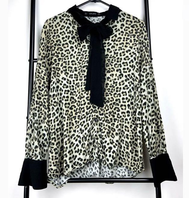 Zara S leopard animal print lace up top shirt blouse smart casual work career