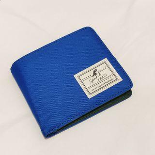 Agnes B Agnés b sports b electric blue/ green canvas bifold wallet with coin pocket purse