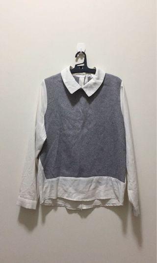 假兩件長袖襯衫