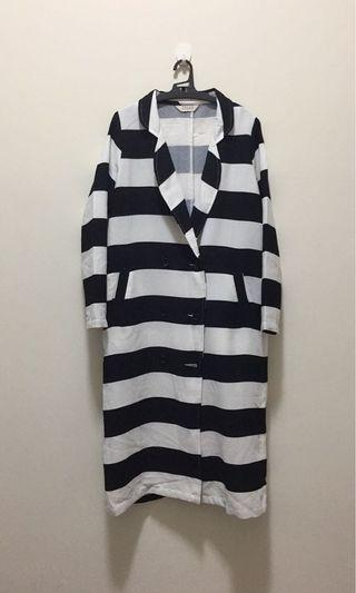 Pazzo黑白條紋長風衣