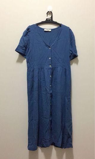 藍色棉麻連身裙