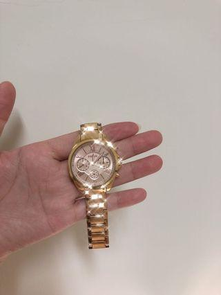 Fossil 三眼金色女錶
