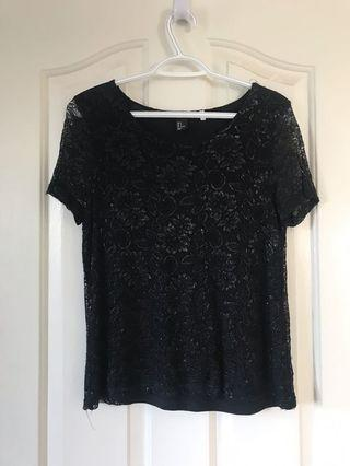 Black lace shirt h and m