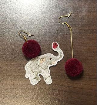 (可購買or買其他商品私訊贈送)毛球大象耳環🐘