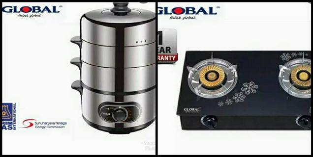 2in1 GLOBAL GAS STOVE GFP2-G0030 (LPG)/Global GZ15GJ1 Steam Cooker