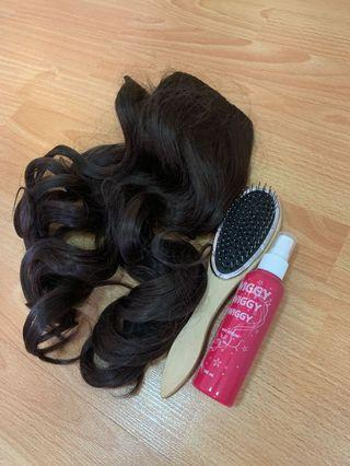 Premium Hair Wig, comb, serum