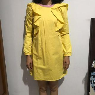 yellow shirt dress zara
