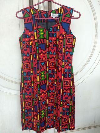 Dress Midi Merah Motif Abstrak