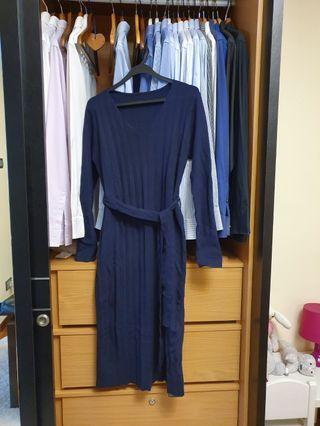 New Elegant Knit Navy Long Sleeve Dress