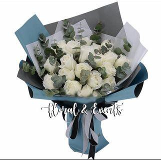 Purity White Rose Flower Bouquet