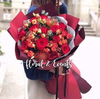 Life Size Daring Red Hand Bouquet