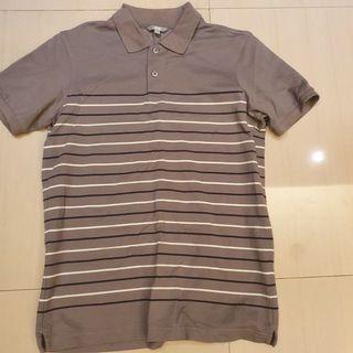 UNIQLO 灰色橫條 polo衫