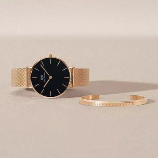 Daniel Wellington Classic Petite Melrose Black 28mm Watch Gift Set