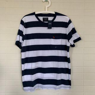 全新正品 Abercrombie a&f t shirt  短袖 復古條紋
