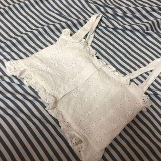 全新白色蕾絲鉤花短版伸縮背心