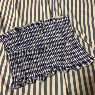 藍色格紋短版平口上衣