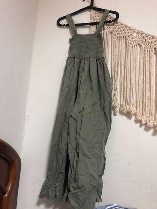 全新粉灰綠伸縮連身長褲