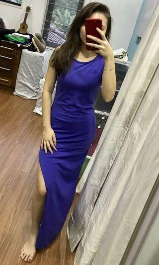 Asymmetrical Electric Blue Maxi Dress