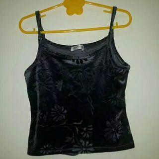 Velvet Tanktop With Floral Accent