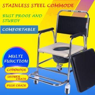 COMMODE WHEELCHAIR, STAINLESS STEEL, MULTI-FUNCTIONAL,  FULLY ASSEMBLED