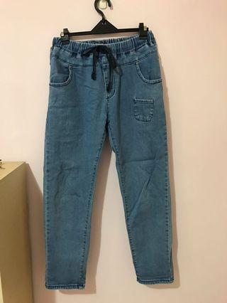 抽繩水洗藍鬆緊牛仔褲