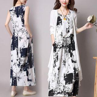 2 Set Long Sleeveless Dress + Cardigan