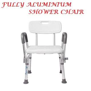 SHOWER CHAIR – ALUMINIUM , ADJUSTABLE HEIGHT, STRONG AND ANTI-SLIP