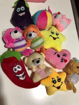 Assorted key chains/ soft toys