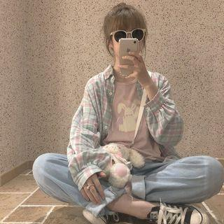 粉嫩格紋寬鬆襯衫