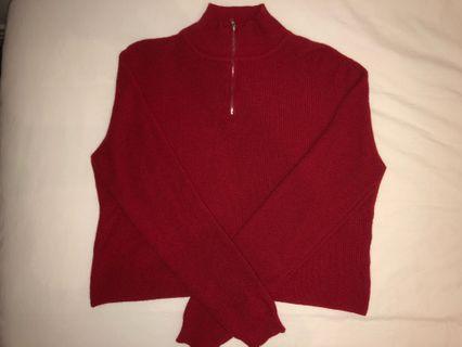 Brandy Melville red quarter zip sweater